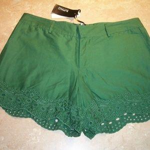 Buffalo David Bitton Green Cotton Eyelet Shorts 27
